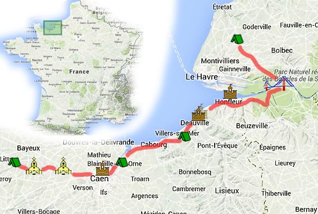 Карта Нормандия Кальвадос